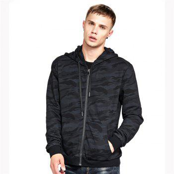 Men's Hoodie Casual Fashion Camouflage All Match Long Sleeve Hoodie - BLACK BLACK