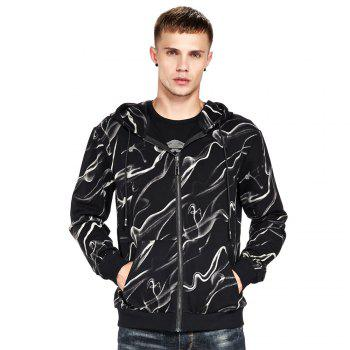Men's Hoodie Casual Fashion Color Block Print All Match Long Sleeve Hoodie - BLACK BLACK