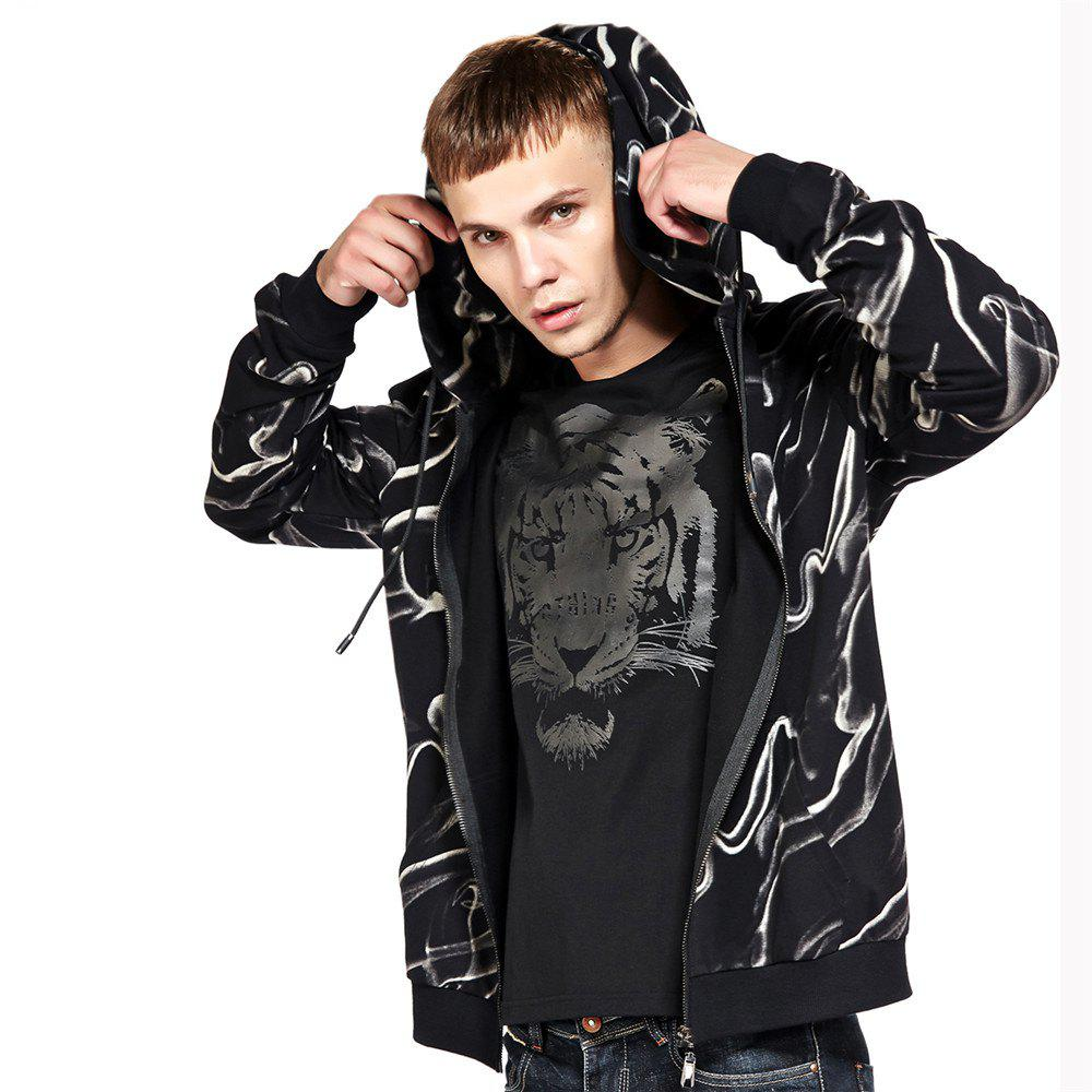 Men's Hoodie Casual Fashion Color Block Print All Match Long Sleeve Hoodie - BLACK L