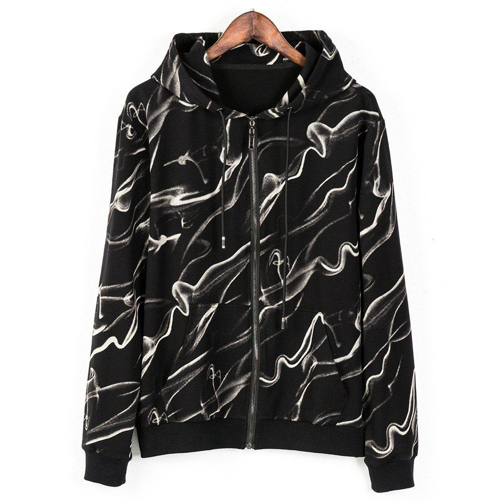 Men's Hoodie Casual Fashion Color Block Print All Match Long Sleeve Hoodie - BLACK XL