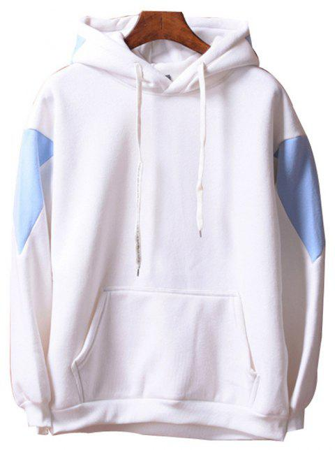 Men's  Loose Patchwork All Match Hoodie - WHITE L