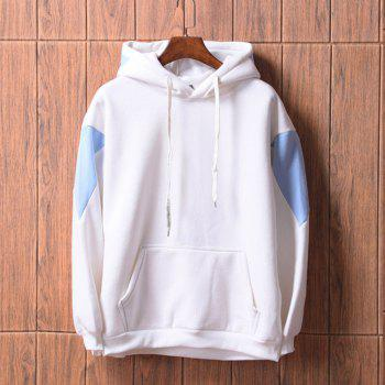 Men's  Loose Patchwork All Match Hoodie - WHITE XL