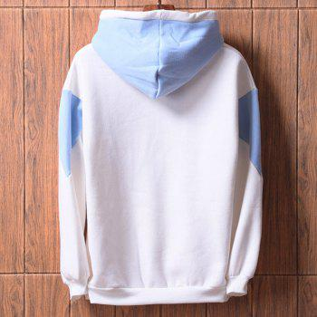 Men's  Loose Patchwork All Match Hoodie - WHITE 2XL