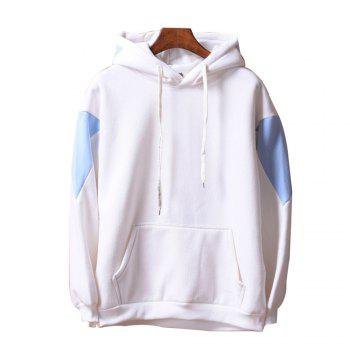 Men's  Loose Patchwork All Match Hoodie - WHITE WHITE