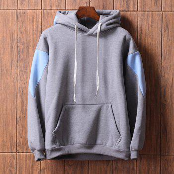 Men's  Loose Patchwork All Match Hoodie - GRAY XL