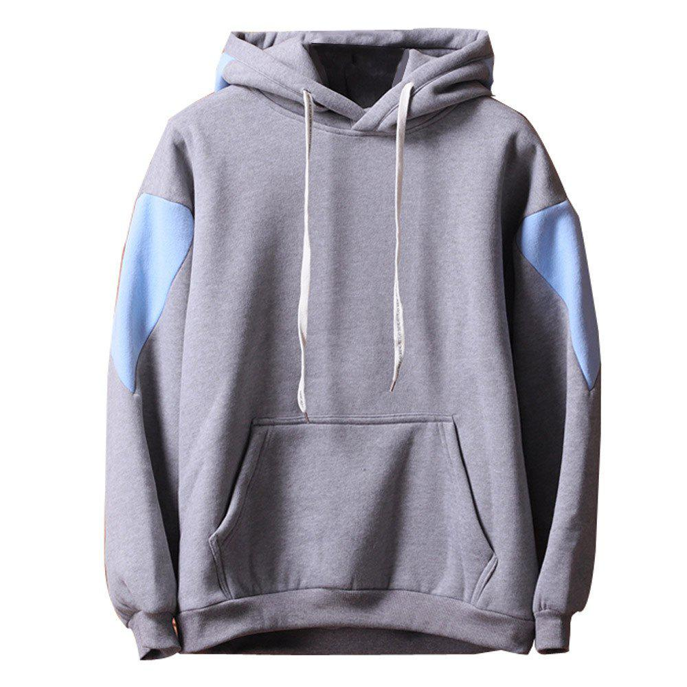 Men's  Loose Patchwork All Match Hoodie - GRAY 2XL