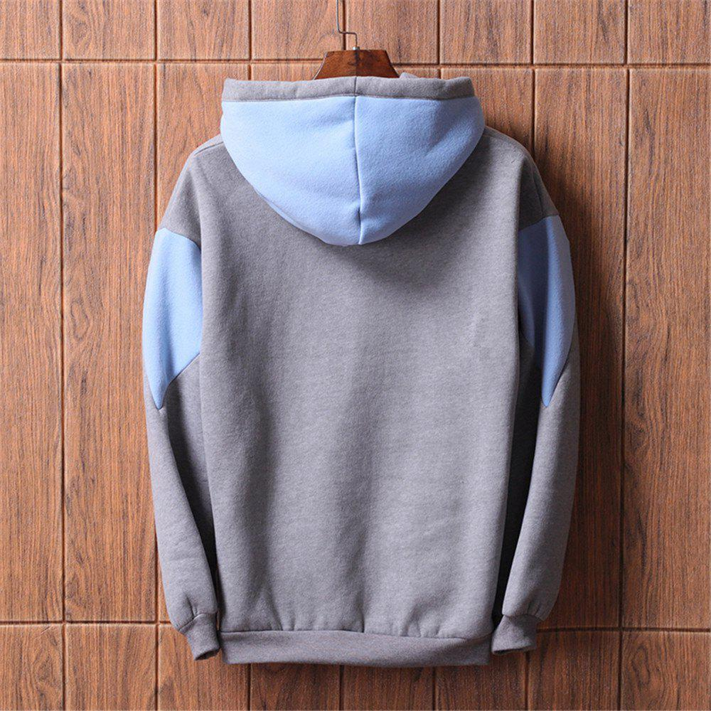 Men's  Loose Patchwork All Match Hoodie - GRAY L