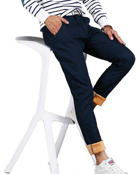Men's Casual Pants Comfy All Match Solid Color Thickened Pants - BLUE 32