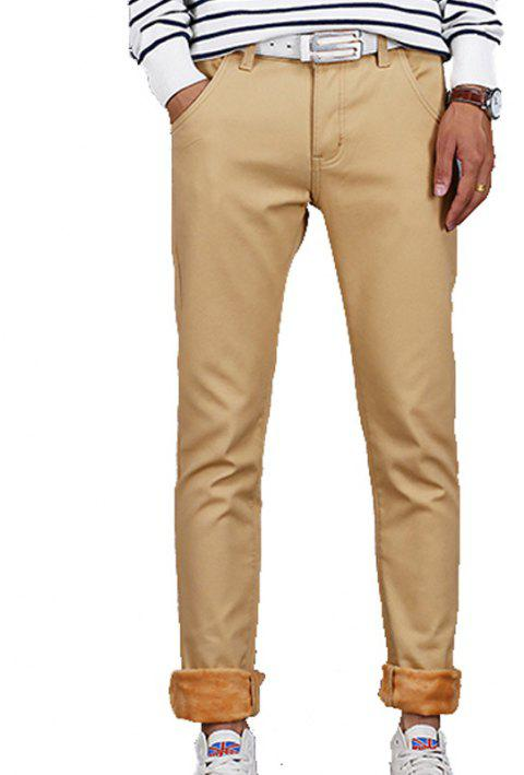 Men's Casual Pants Comfy All Match Solid Color Thickened Pants - KHAKI 30