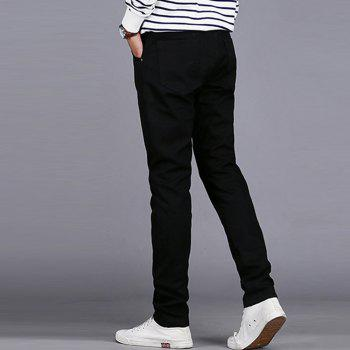 Men's Casual Pants Comfy All Match Solid Color Thickened Pants - BLACK BLACK