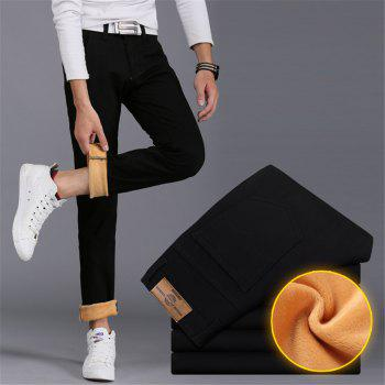 Men's Casual Pants Comfy All Match Solid Color Thickened Pants - BLACK 34