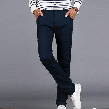 Men's Casual Pants Comfy All Match Solid Color Thickened Pants - BLUE 31