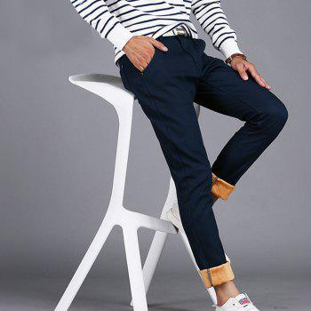 Men's Casual Pants Comfy All Match Solid Color Thickened Pants - BLUE BLUE