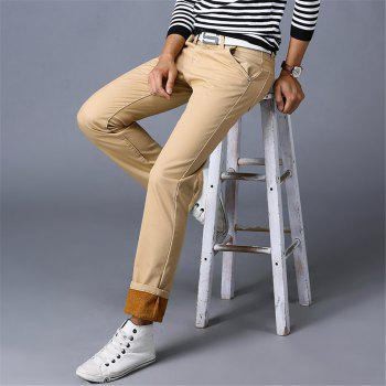 Men's Casual Pants Comfy All Match Solid Color Thickened Pants - KHAKI 32