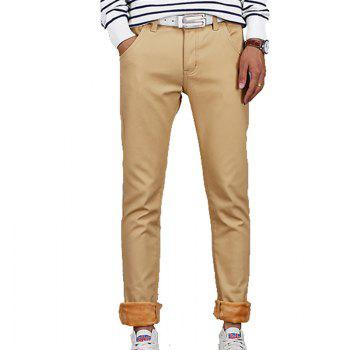 Men's Casual Pants Comfy All Match Solid Color Thickened Pants - KHAKI KHAKI