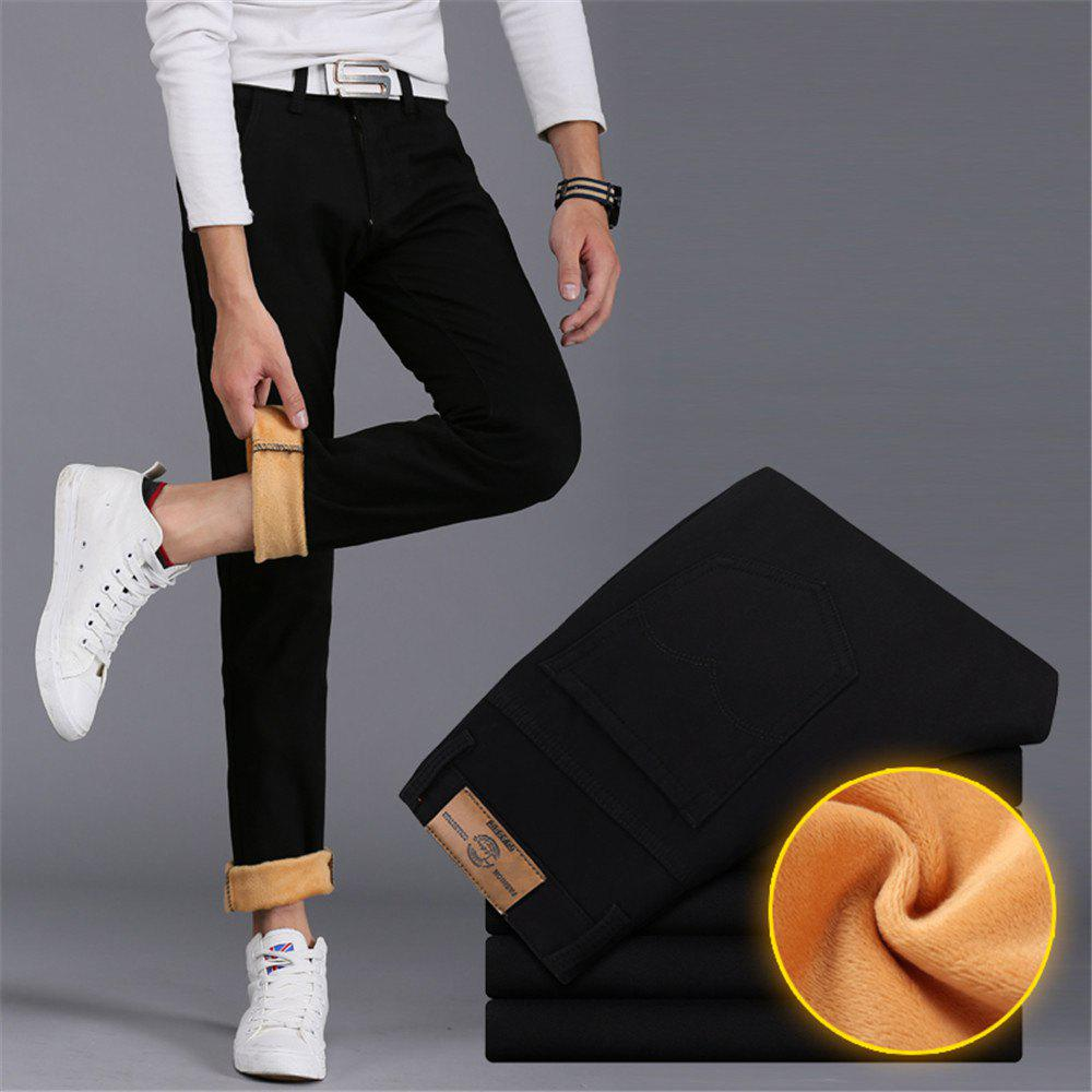 Men's Casual Pants Comfy All Match Solid Color Thickened Pants - BLACK 31
