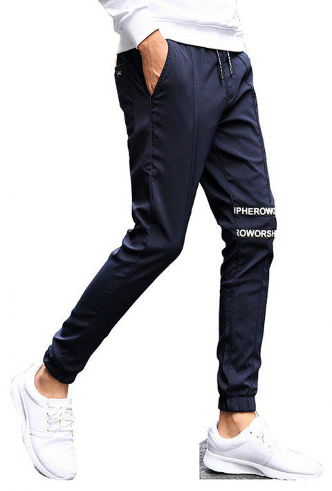 Men's Casual Pants Comfy Solid Color Trendy Drawstring Thickened Pants - BLUE XL