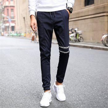 Men's Casual Pants Comfy Solid Color Trendy Drawstring Thickened Pants - BLUE BLUE