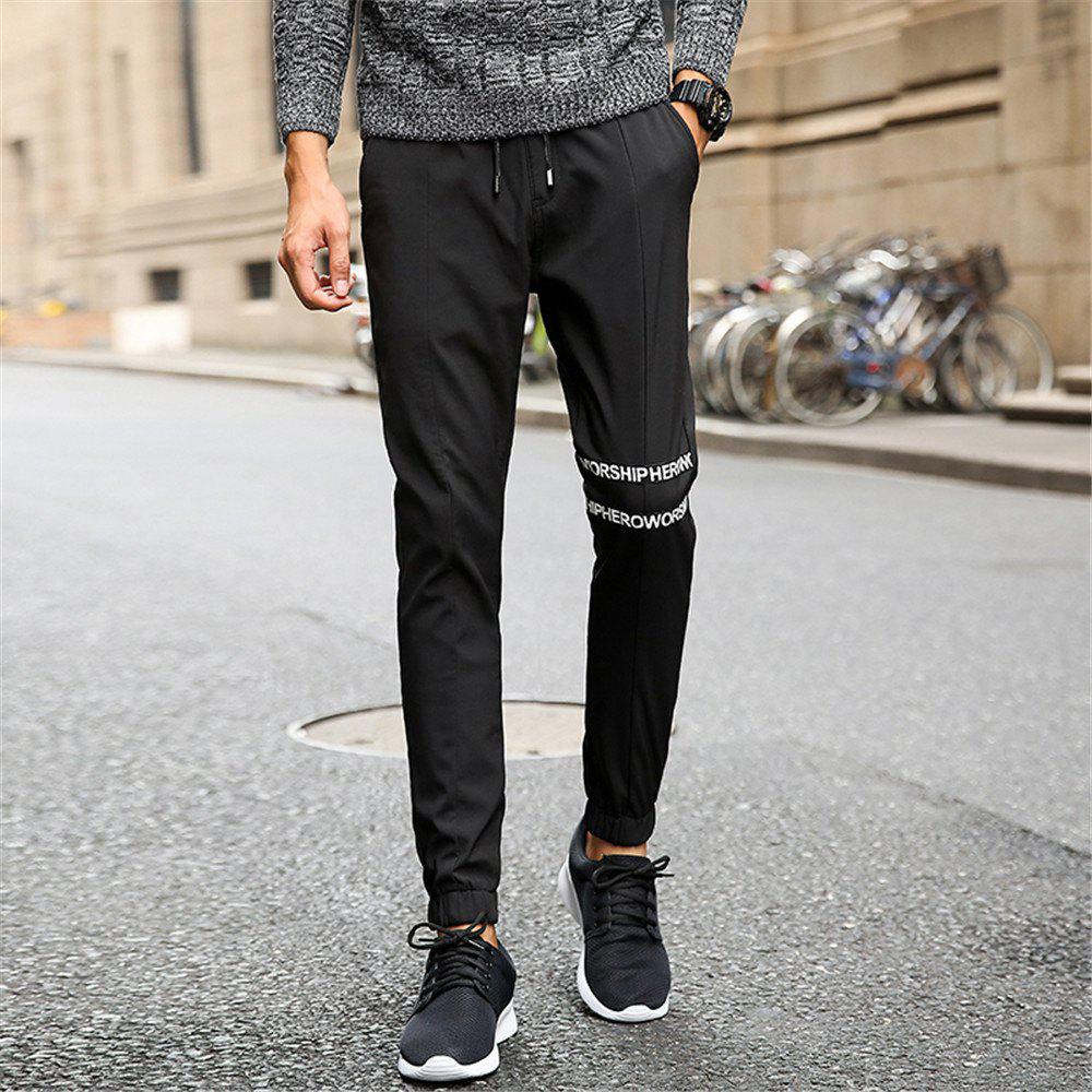 Men's Casual Pants Comfy Solid Color Trendy Drawstring Thickened Pants - BLACK XL