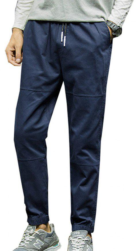 Men's Casual Pants Solid Color Comfy All Match Fashion Pants - BLUE L