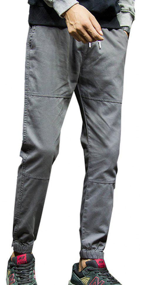 Men's Casual Pants Solid Color Comfy All Match Fashion Pants - GRAY 2XL