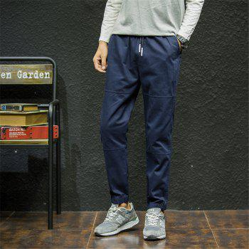 Men's Casual Pants Solid Color Comfy All Match Fashion Pants - BLUE 2XL