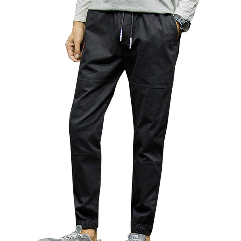 Men's Casual Pants Solid Color Comfy All Match Fashion Pants - BLACK 2XL