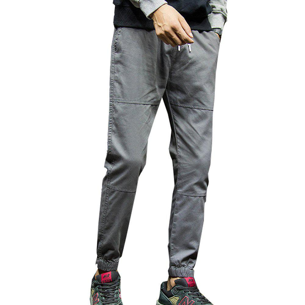 Men's Casual Pants Solid Color Comfy All Match Fashion Pants - GRAY L