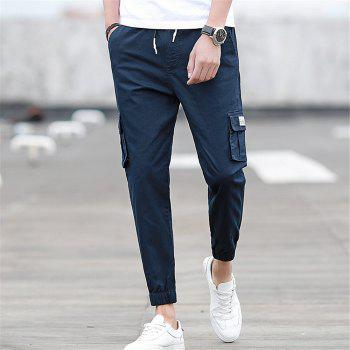 Men's Casual Pants Comfy Solid Color All Match Pants - BLUE BLUE