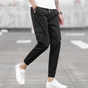 Men's Casual Pants Comfy Solid Color All Match Pants - BLACK BLACK