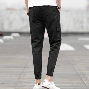 Men's Casual Pants Comfy Solid Color All Match Pants - BLACK 2XL