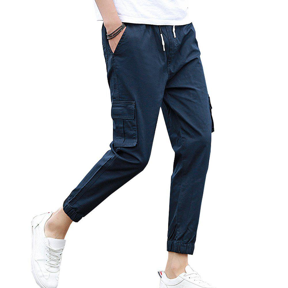 Men's Casual Pants Comfy Solid Color All Match Pants - BLUE 2XL