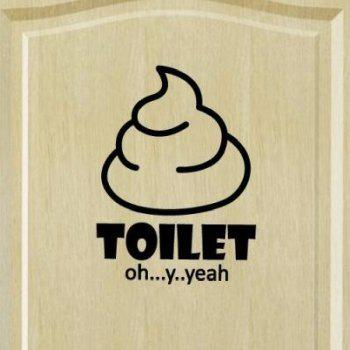 DSU Toilet Stool Toilet Wall Stickers bathroom Waterproof Funny Creative Murals - BLACK 15X15CM