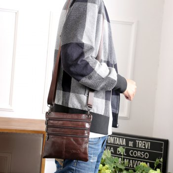 Brand 100% Genuine leather men bag Fashion men small shoulder crossbody bags Thin design Casual messenger bags - BROWN