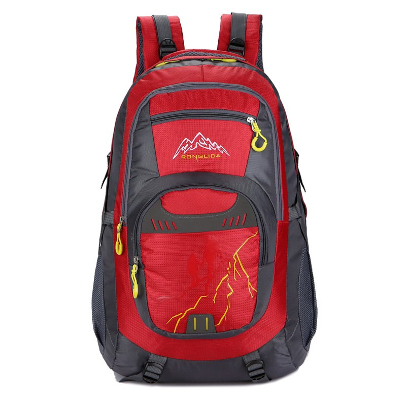 50L Nylon Men women Waterproof Travel Bag Couple Sports Largecapacity Travel Backpack - RED
