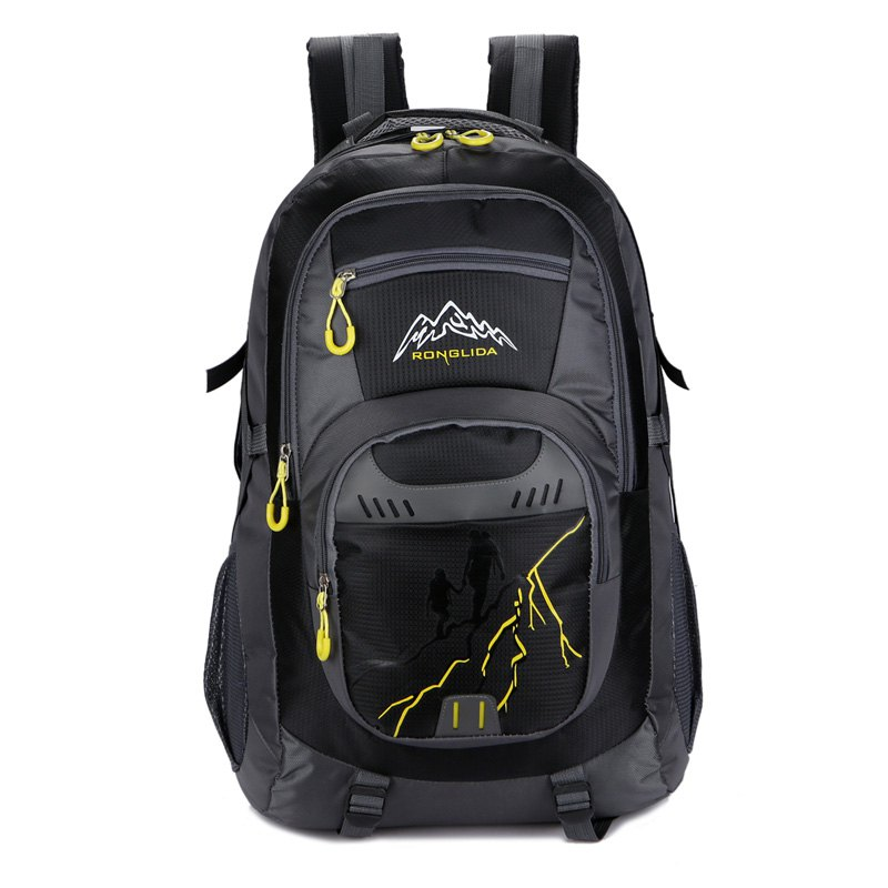 50L Nylon Men women Waterproof Travel Bag Couple Sports Largecapacity Travel Backpack - BLACK