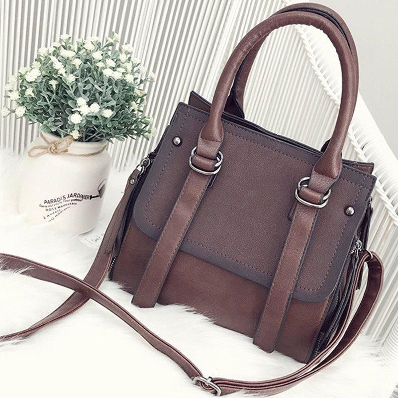 New Handbag Atmospheric Hand-Held Large Capacity Shoulder Messenger Bag - DEEP BROWN