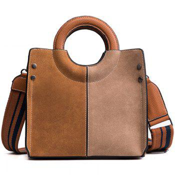 2018 New Bags Female Single Shoulder Bag Color Ring All-Match Nubuck Leather Handbag Simple Tide - YELLOW-BROWN YELLOW BROWN