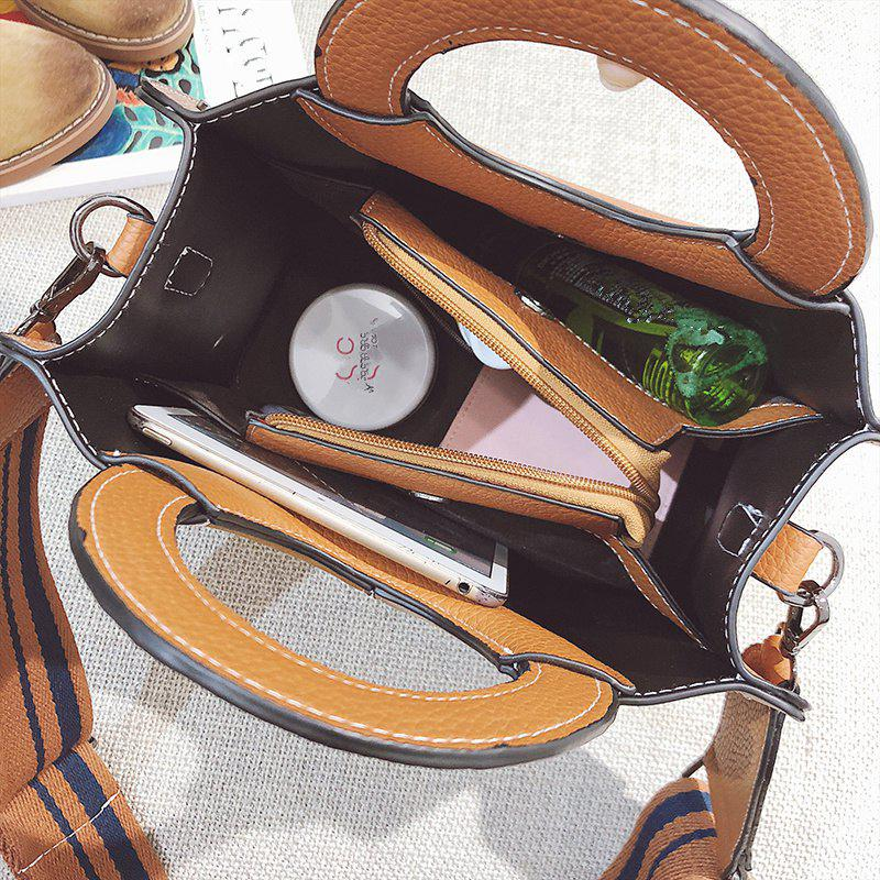 2018 New Bags Female Single Shoulder Bag Color Ring All-Match Nubuck Leather Handbag Simple Tide - YELLOW BROWN