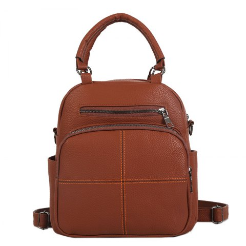 The New Dual Shoulder Bag Women Bag Shoulder Female All-Match Casual 2018PU Leather Backpack Female Tide - YELLOW BROWN