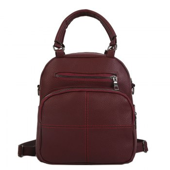 The New Dual Shoulder Bag Women Bag Shoulder Female All-Match Casual 2018PU Leather Backpack Female Tide - MERLOT MERLOT