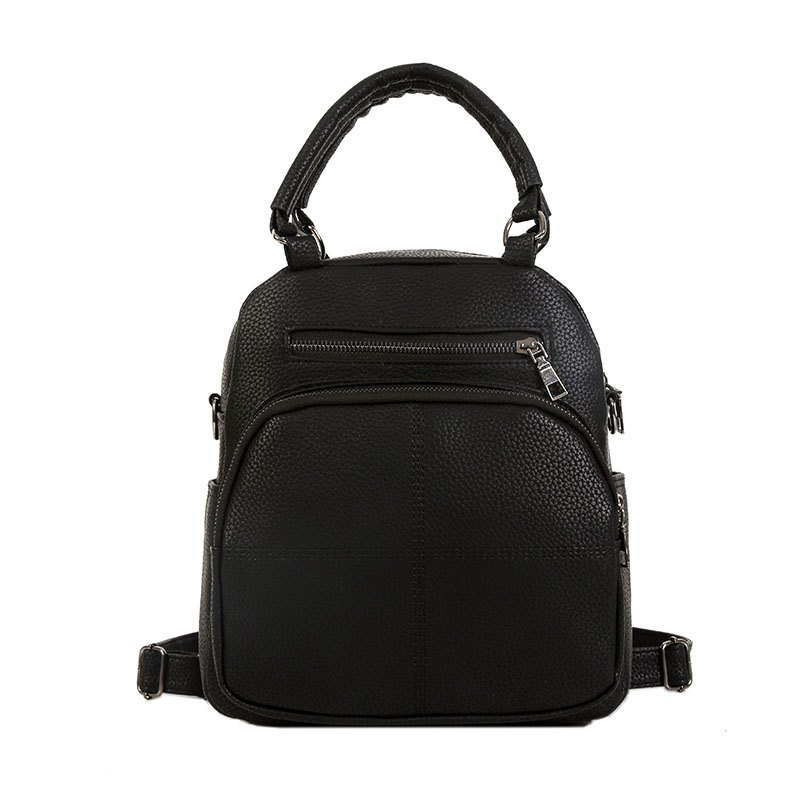The New Dual Shoulder Bag Women Bag Shoulder Female All-Match Casual 2018PU Leather Backpack Female Tide - BLACK