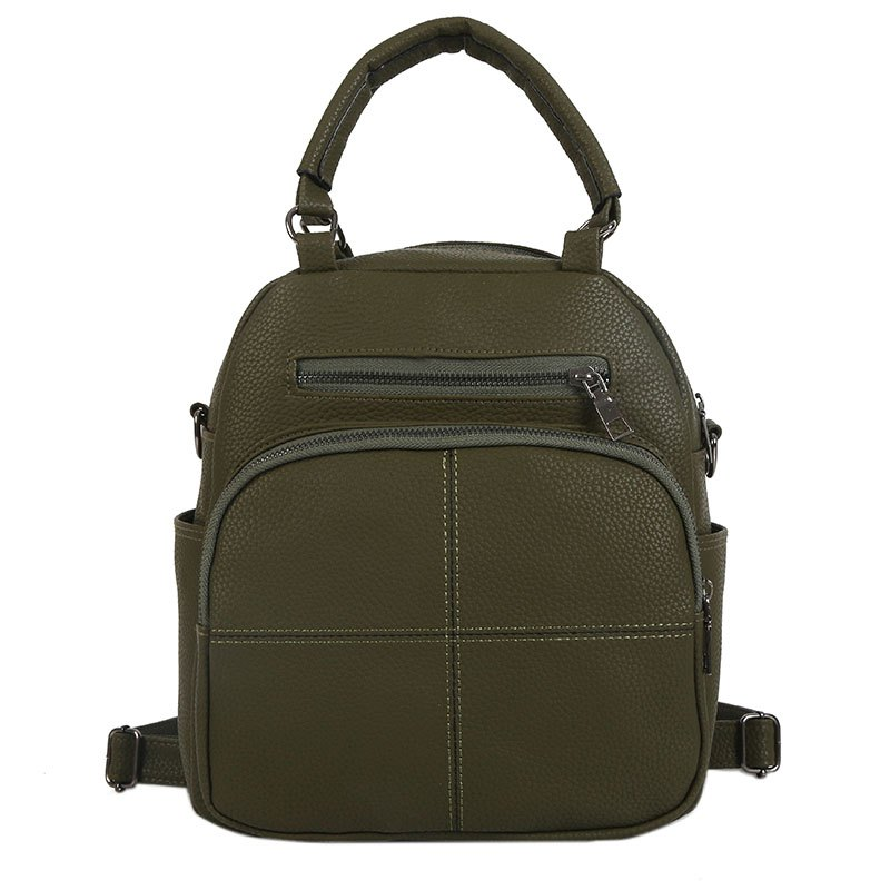 The New Dual Shoulder Bag Women Bag Shoulder Female All-Match Casual 2018PU Leather Backpack Female Tide - GREEN