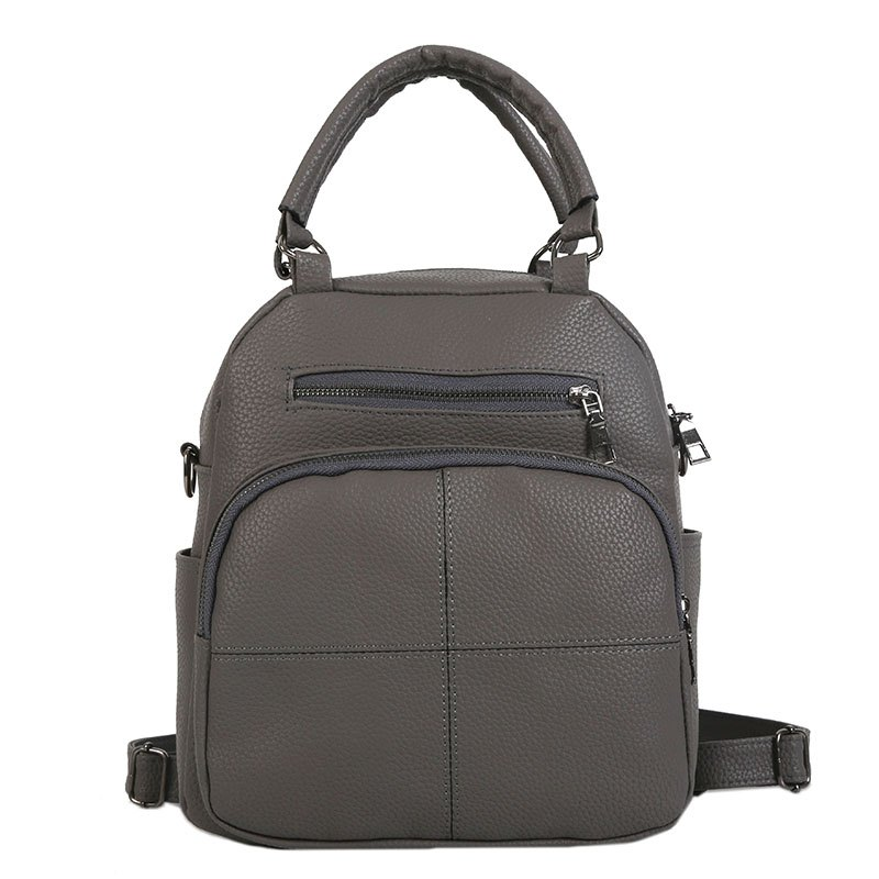 The New Dual Shoulder Bag Women Bag Shoulder Female All-Match Casual 2018PU Leather Backpack Female Tide - GRAY