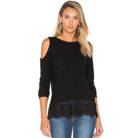 Strapless Lace Stitching Long Sleeved T-Shirt - BLACK M