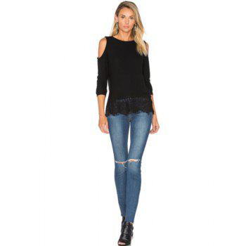 Strapless Lace Stitching Long Sleeved T-Shirt - BLACK L