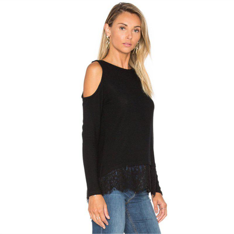Strapless Lace Stitching Long Sleeved T-Shirt - BLACK S