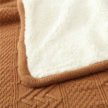New Product Wave Pattern all Cotton Knitted Warm Lamb Wool Blanket - COFFEE 127CM X 153CM