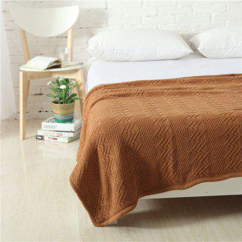 New Product Wave Pattern all Cotton Knitted Warm Lamb Wool Blanket - COFFEE COFFEE