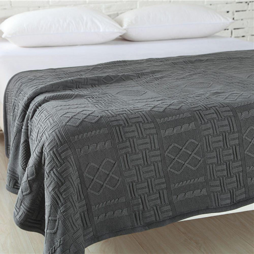 New Products With Thick Warm Cotton Knitted Wool Casual Blankets - GRAY 130CM X 160CM